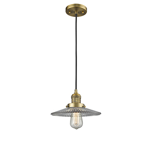 Halophane Brushed Brass Nine-Inch One-Light Mini Pendant with Halophane Cone Glass and Black Cord