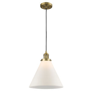 X-Large Cone Brushed Brass One-Light Pendant with Matte White Cased Glass