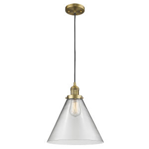 X-Large Cone Brushed Brass One-Light Pendant with Clear Glass