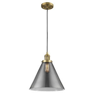 X-Large Cone Brushed Brass One-Light Pendant with Smoked Glass