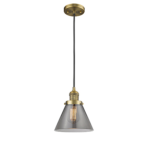 Large Cone Brushed Brass Eight-Inch LED Mini Pendant with Smoked Cone Glass and Black Cord
