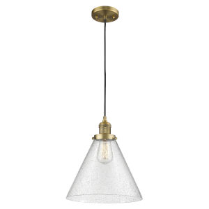 X-Large Cone Brushed Brass One-Light Pendant with Seedy Glass