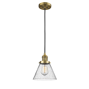 Large Cone Brushed Brass Eight-Inch LED Mini Pendant with Seedy Cone Glass and Black Cord