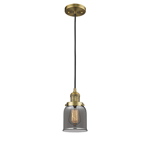 Small Bell Brushed Brass Five-Inch LED Mini Pendant with Smoked Bell Glass and Black Cord