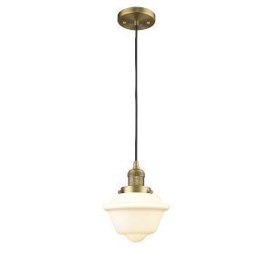 Small Oxford Brushed Brass 60W One-Light Mini Pendant with Matte White Cased Glass