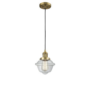 Small Oxford Brushed Brass One-Light Mini Pendant with Clear Glass
