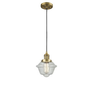 Small Oxford Brushed Brass LED Mini Pendant with Seedy Glass