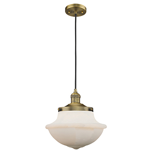 Oxford School House Brushed Brass 12-Inch LED Pendant with White Bell Glass