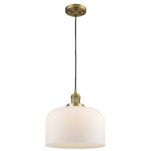 X-Large Bell Brushed Brass 60W One-Light Pendant with Matte White Cased Glass