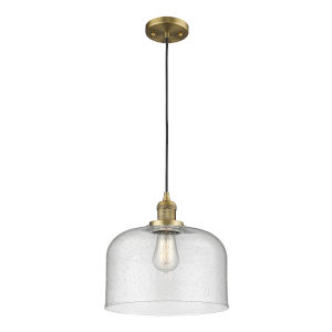 X-Large Bell Brushed Brass One-Light Pendant with Seedy Glass