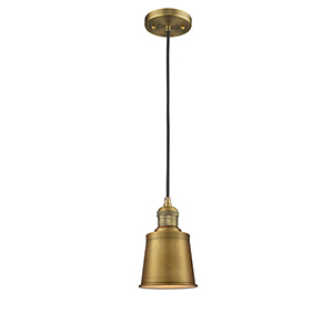 Addison Brushed Brass Five-Inch LED Mini Pendant with Black Cord