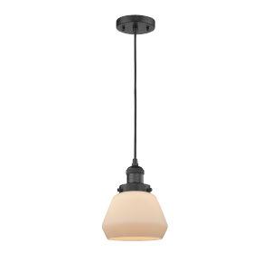 Fulton Matte Black 60W One-Light Mini Pendant with Matte White Cased Glass