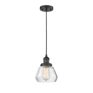 Fulton Matte Black One-Light Mini Pendant with Clear Glass