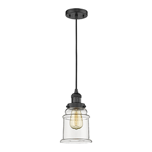 Canton Black Six-Inch One-Light Mini Pendant with Clear Bell Glass and Black Cord