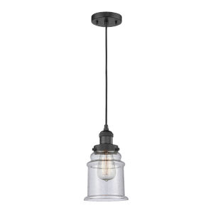Canton Matte Black Six-Inch One-Light Mini Pendant with Seedy Glass