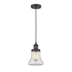 Bellmont Matte Black Six-Inch LED Mini Pendant with Clear Glass