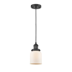 Small Bell Matte Black One-Light Mini Pendant with Matte White Cased Glass