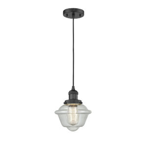 Small Oxford Matte Black LED Mini Pendant with Clear Glass
