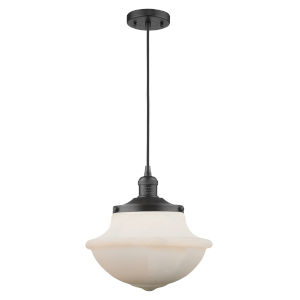 Franklin Restoration Matte Black 12-Inch One-Light Pendant with Matte White Cased Large Oxford Shade and Black Textured Cord