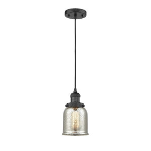 Small Bell Matte Black One-Light Mini Pendant with Silver Plated Mercury Glass