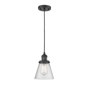 Franklin Restoration Matte Black Six-Inch LED Mini Pendant with Seedy Small Cone Shade and Black Textured Cord