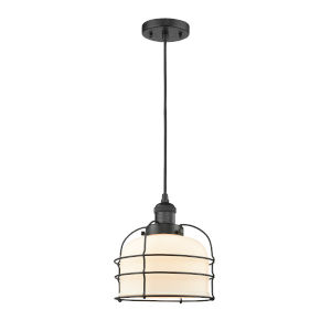 Large Bell Cage Matte Black One-Light Mini Pendant with Matte White Cased Glass