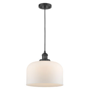 X-Large Bell Matte Black 3.5W LED Pendant with Matte White Cased Glass