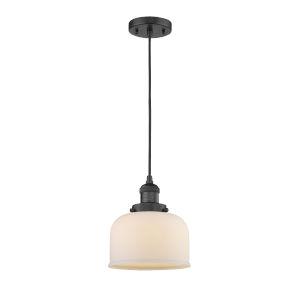 Large Bell Matte Black One-Light Mini Pendant with Matte White Cased Glass