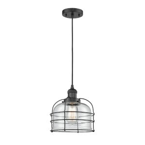 Large Bell Cage Matte Black One-Light Mini Pendant with Clear Glass