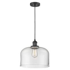 X-Large Bell Matte Black LED Pendant with Clear Glass