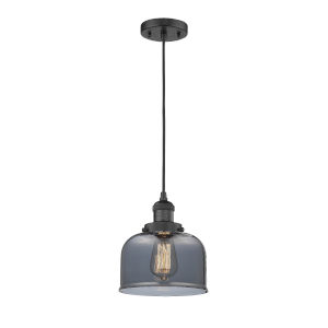 Large Bell Matte Black One-Light Mini Pendant with Smoked Glass