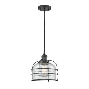 Large Bell Cage Matte Black One-Light Mini Pendant