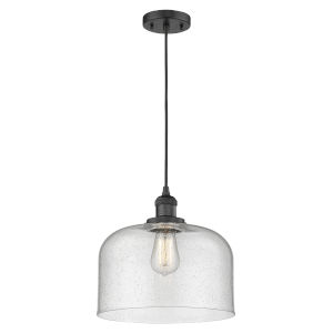 X-Large Bell Matte Black One-Light Pendant with Seedy Glass