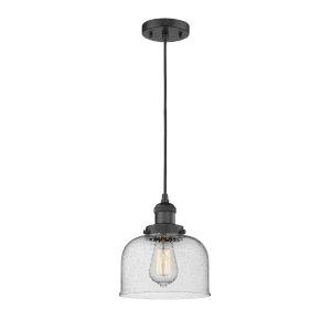 Large Bell Matte Black One-Light Mini Pendant