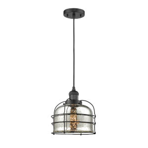 Large Bell Cage Matte Black LED Mini Pendant with Silver Plated Mercury Glass