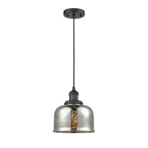 Large Bell Matte Black One-Light Mini Pendant with Silver Plated Mercury Glass
