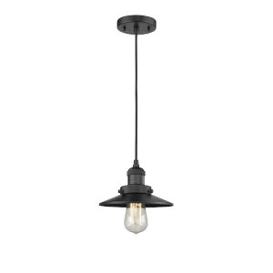 Franklin Restoration Matte Black Eight-Inch One-Light Mini Pendant with Railroad Matte Black Metal Shade