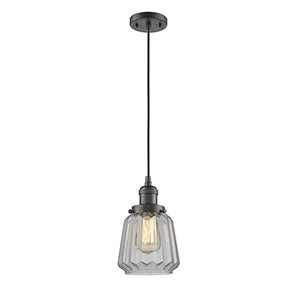 Chatham Oiled Rubbed Bronze Six-Inch LED Mini Pendant with Clear Fluted Novelty Glass and Black Cord