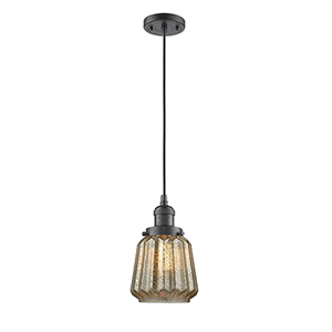 Chatham Oiled Rubbed Bronze Six-Inch LED Mini Pendant with Mercury Fluted Novelty Glass and Black Cord
