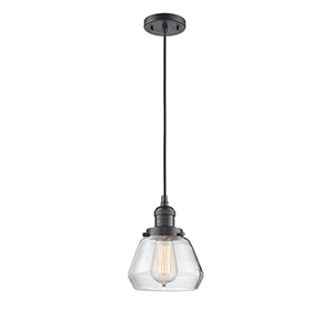 Fulton Oiled Rubbed Bronze Seven-Inch One-Light Mini Pendant with Clear Sphere Glass and Black Cord