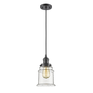 Canton Oiled Rubbed Bronze Six-Inch LED Mini Pendant with Clear Bell Glass