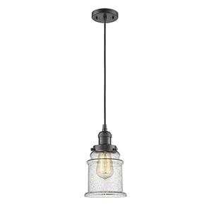 Canton Oiled Rubbed Bronze Six-Inch LED Mini Pendant with Seedy Bell Glass