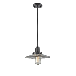 Halophane Oiled Rubbed Bronze Nine-Inch LED Mini Pendant with Halophane Cone Glass and Black Cord