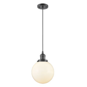 Franklin Restoration Oil Rubbed Bronze Eight-Inch LED Mini Pendant with Matte White Cased Beacon Shade and Black Textured