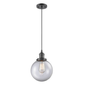 Franklin Restoration Oil Rubbed Bronze Eight-Inch LED Mini Pendant with Clear Beacon Shade and Black Textured Cord
