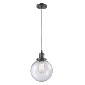 Franklin Restoration Oil Rubbed Bronze Eight-Inch LED Mini Pendant with Seedy Beacon Shade and Black Textured Cord