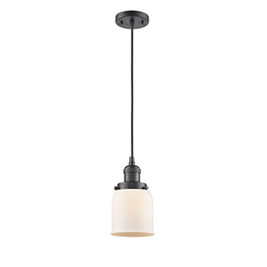 Small Bell Oiled Rubbed Bronze Five-Inch LED Mini Pendant with Matte White Cased Bell Glass and Black Cord