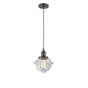 Small Oxford Oil Rubbed Bronze One-Light Mini Pendant with Clear Glass