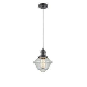 Small Oxford Oil Rubbed Bronze One-Light Mini Pendant with Seedy Glass