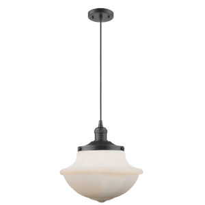 Franklin Restoration Oil Rubbed Bronze 12-Inch LED Pendant with Matte White Cased Large Oxford Shade and Black Textured Cord